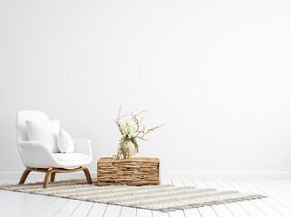 Obraz Scandi-boho style interior background, wall mock up, 3d render - fototapety do salonu