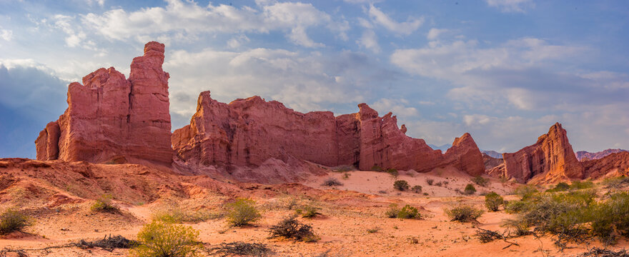 Panoramic view of impressive red rock formations in the valley Quebrada de las Conchas, northwest Argentina