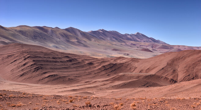 panoramic view of the desolate mountain landscape in the vicinity of Tolar Grande on the high altitude puna in northwest Argentina