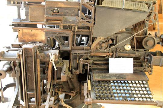 Antique linotype machine in the museum