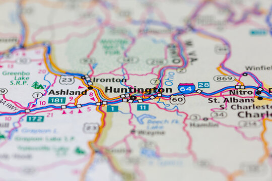 04-26-2021 Portsmouth, Hampshire, UK Huntington West Virginia USA and surrounding areas Shown on a road map or Geography map