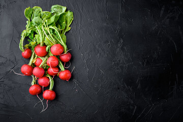 Fototapeta Bunch of radishes. Freshly harvested, purple colorful radish. Growing radish. Growing vegetables. Healthy food background, on black stone background, top view flat lay, with copy space for text obraz