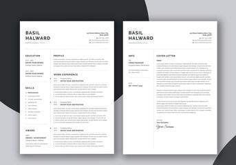 Obraz Minimalist Resume and Cover Letter Set - fototapety do salonu