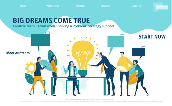 Business people working in office.  Flat design website or app page template. Financial services, banking, strategic planning, development, business solutions, consulting, data analyse