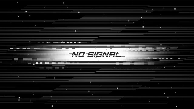 Screen glitch with no signal message, television broadcast fail. Monochrome pixels noise and lines on monitor vector background. TV signal loss, connection error or video data transfer problem