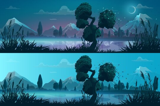 Night and day lake or river shore panorama landscape. Cartoon vector background with wind blows leaves from trees, grass and reeds on shore, mountain snowy peaks, fog above water and moon disk