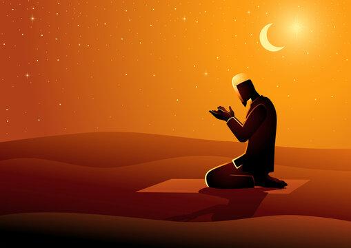 Muslim man praying in the desert