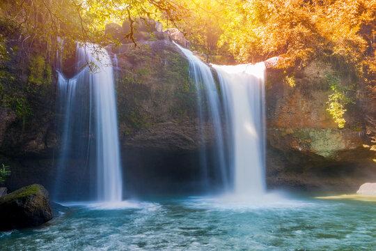 Beautiful waterfall with sunlight in jungle, Haew Suwat Waterfall at khao yai Nakhonratchasima province