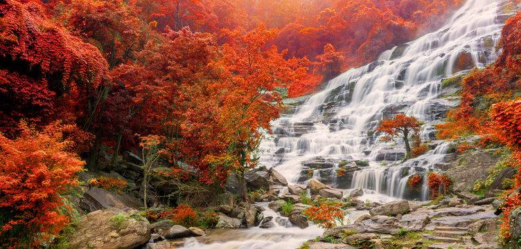 Banner Colourful of Mae ya waterfall is a big beautiful waterfalls in Chiang mai Thailand
