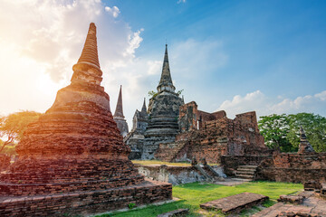 Fototapeta Ancient temple in Ayutthaya, Thailand. The temple is on the site of the old Royal Palace of ancient capital of Ayutthaya