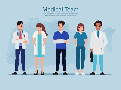 Doctor character set for medicine. Healthcare medical people in hospital animated.