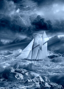 ship sailing in a tempest with stormy sky and lightning concept