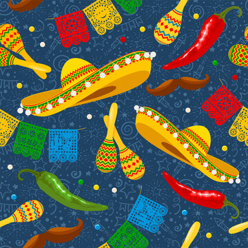 Cinco de Mayo seamless pattern with traditional mexican sombrero, perforated paper flags, maracas and other. Hand drawn festive pattern on blue background. Vector illustration.