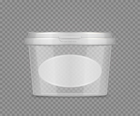 Obraz Empty transparent jar mockup with label for cheese, ice cream, mayonnaise, yogurt. Plastic package design. Blank beauty or food product container template. 3d vector illustration - fototapety do salonu