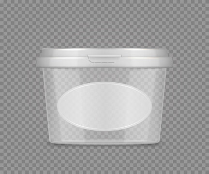 Empty transparent jar mockup with label for cheese, ice cream, mayonnaise, yogurt. Plastic package design. Blank beauty or food product container template. 3d vector illustration