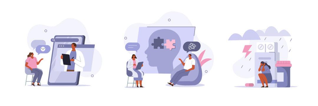 Mental Health Problems and Treatment. Characters having Consultation and Therapy against Mental Diseases with Doctors Psychologist. Mental Disorder Concept. Flat Cartoon Vector Illustration and Icons.