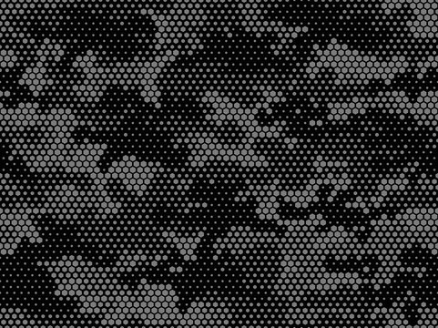 Camouflage seamless pattern. Abstract camo from hexagonal elements. Endless military texture. Print on fabric and textiles. Vector illustration.