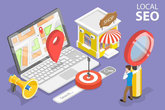 3D Isometric Flat Vector Conceptual Illustration of Local SEO Marketing Strategy