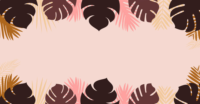 Palms Vector template with copy space in flat design Cute monstera leaves and tropical plants on light pink background