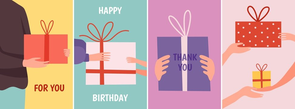 Cards with gift. Hands holding present boxes, thank you happy birthday vector banners