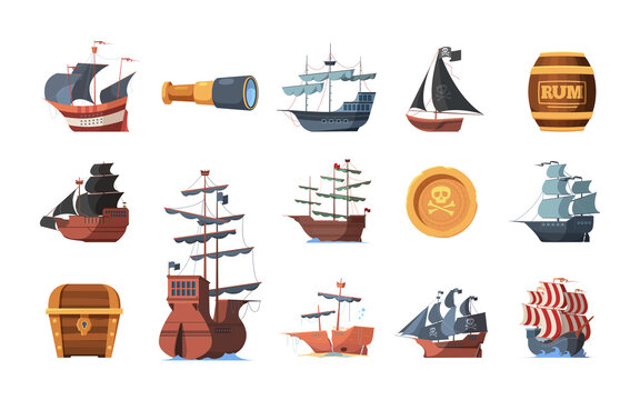 Pirate symbols. Old ships of looters and invaders parrot spyglass hook prey garish vector boats of pirates