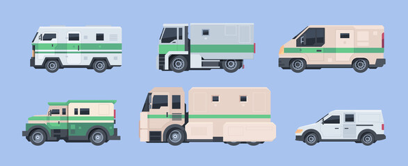 Police bank cars. Security finance services collector vehicle heavy steel armored cars garish vector cartoon illustrations
