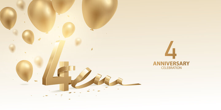 4th Anniversary celebration background. 3D Golden numbers with bent ribbon, confetti and balloons.