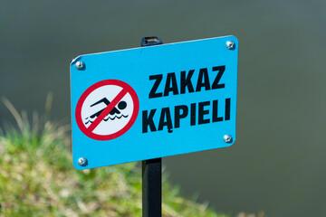 Fototapeta Znak ostrzegawczy Zakaz Kąpieli obraz