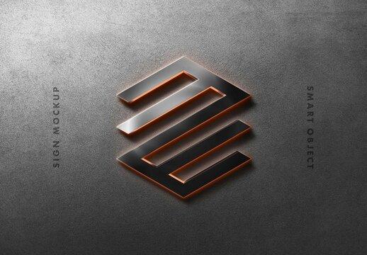 Led Lighting Metal Wall Sign Logo Mockup