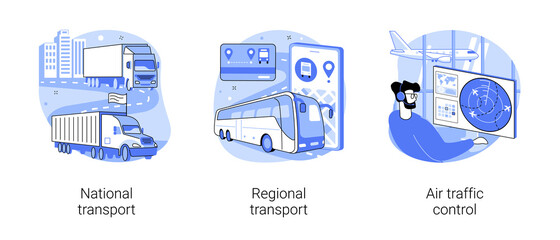 Transportation system abstract concept vector illustrations.