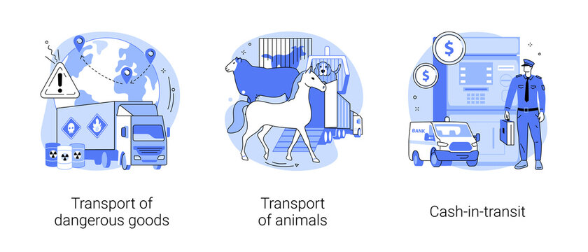 Transit and logistics abstract concept vector illustrations.