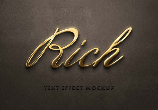 Realistic 3D Golden Text Effect Mockup