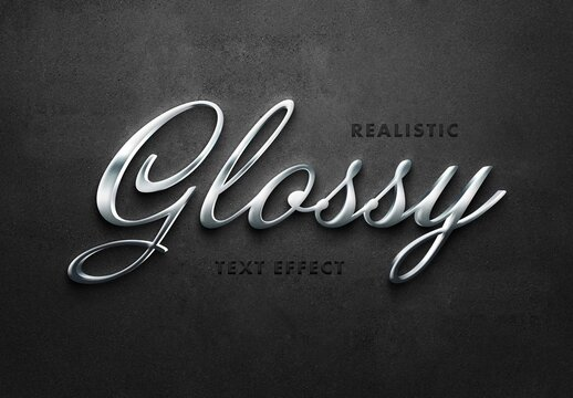 Realistic 3D Silver Text Effect Mockup