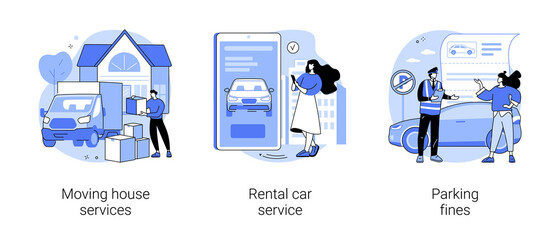 Domestic transport abstract concept vector illustrations.
