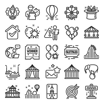 Amusement park line icons. Set of Carousel, Roller coaster and Circus icons. Air balloon, Crane claw machine and Fastpass symbols. Circus amusement park tickets. Ferris wheel carousel. Vector