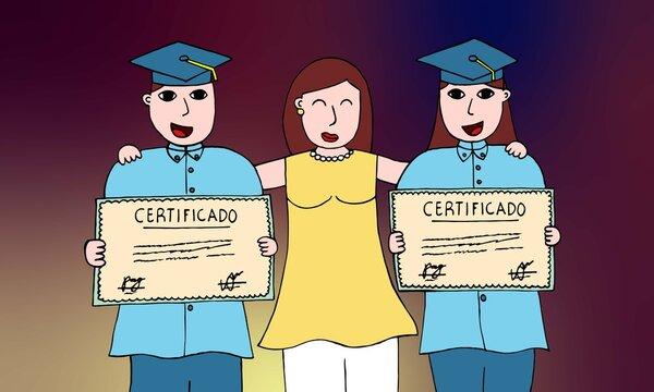 Entrega de título universitario. Madre e hijos. Certificado