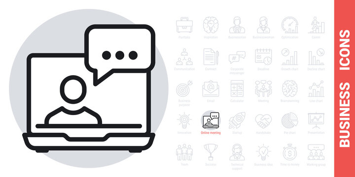 Video conference, online meeting or webinar icon. Human on laptop screen. Home office concept. Simple black and white version from a series of business icons