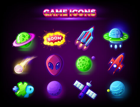 Mobile game icons set isolated on dark background. GUI elements for mobile app, vector illustration pack in cartoon style