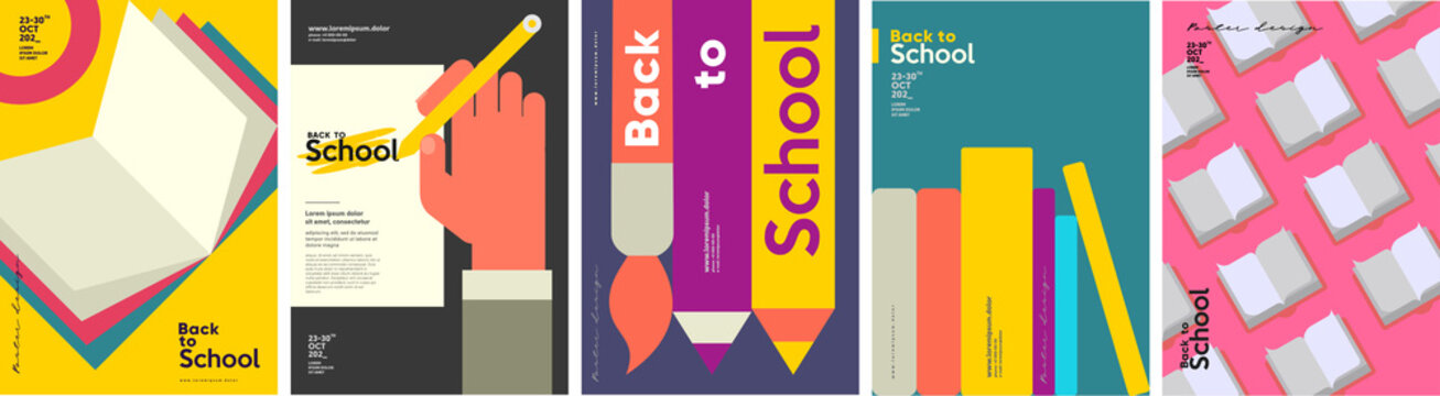 School backgrounds. Book, stationery, books, hand and pencil.