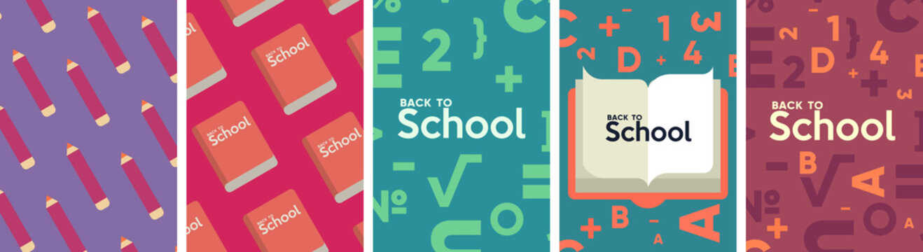 School backgrounds. Set of flat, vector illustrations. Back to School. Elements and objects on school themes, simple background for poster, cover, flyer.