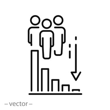 decrease population icon, less people, decline amount, demography drop, thin line symbol on white background - editable stroke vector eps10