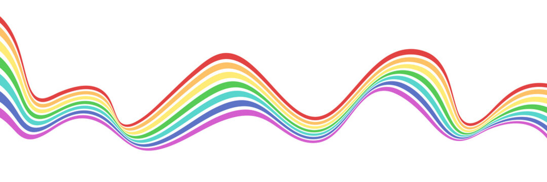 Abstract element with wavy, curved rainbow lines. Vector illustration of stripes with optical illusion.