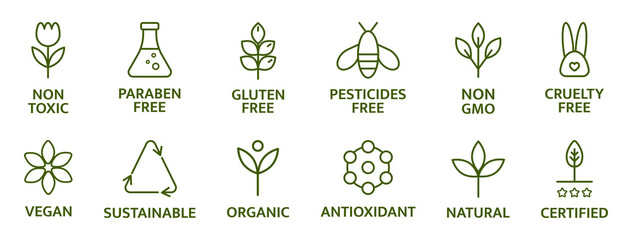 Obraz Organic and natural cosmetic line icons. Gluten and paraben free cosmetic. Allergen free badges. Non toxic logo. Skincare symbol. Beauty product. Eco, vegan label. Sensitive skin. Vector illustration - fototapety do salonu
