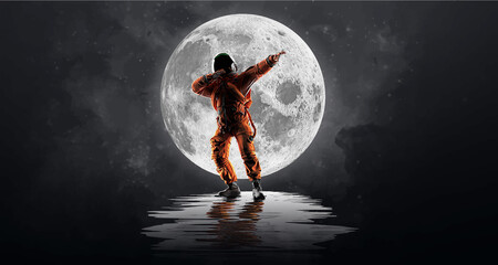 Fototapeta Dancing astronaut on the background of the moon and space. Vector illustration obraz