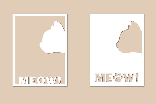 2 templates for laser cutting. Size - 3*4. Cats. Vector illustration