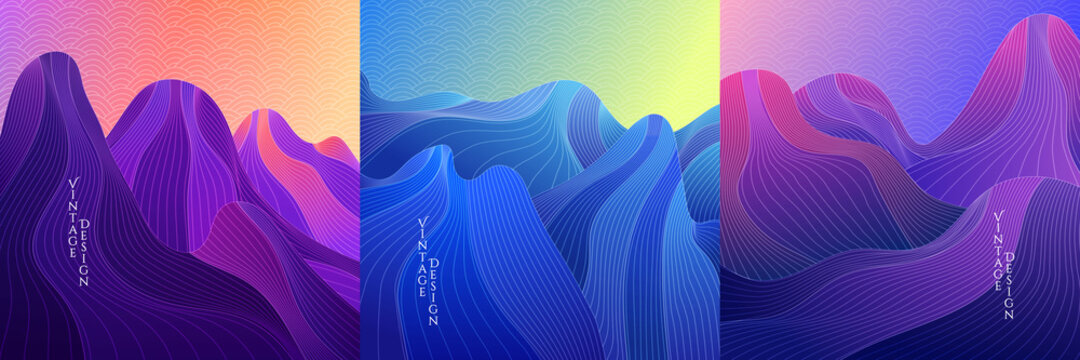 Vector illustration. Landscape set. Hills, mountains. Linear wave concept. Striped background. Asian style. Japanese line pattern. Design for social media template, web banner. Blue, purple color