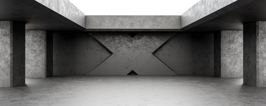 concrete hall building interior with open ceiling 3d render illustration