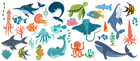 Fototapeta Fish and wild marine animals are isolated on white background. Inhabitants of the sea world, cute, funny underwater creatures dolphin, shark, ocean crabs, sea turtle, shrimp. Flat cartoon illustration