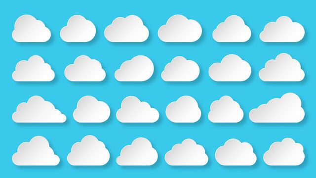 Clouds white paper cut icon set on blue sky. Different shape cloud abstract web banner template origami cartoon speech bubble symbol. Digital internet network data technology business concept sign