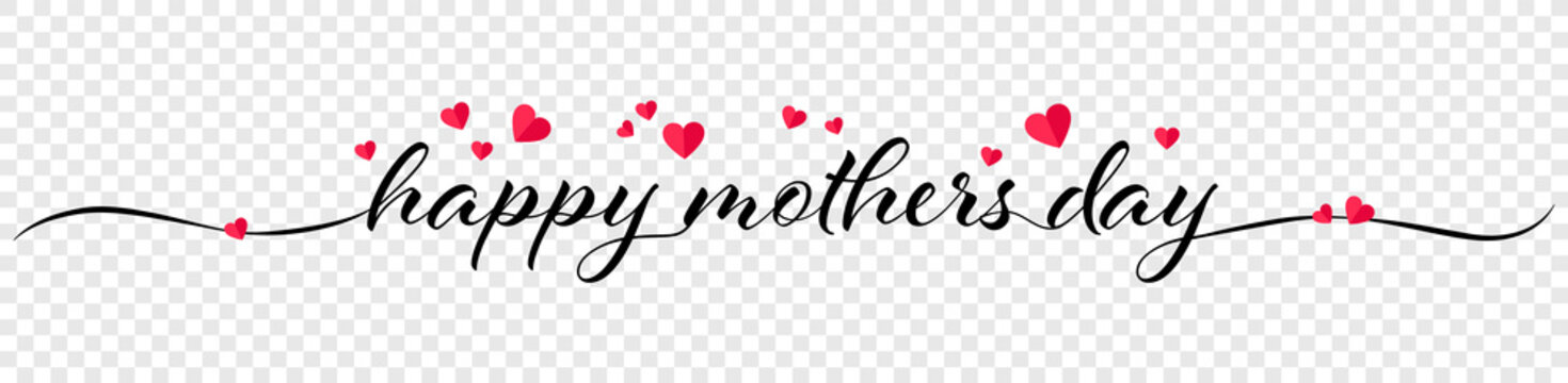 Happy mothers day calligraphy banner illustration with hearts isolated